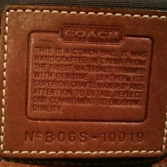 Coach Tan Leather Jean Patchwork Button Metal Clasp Zipper Shoulder Bag