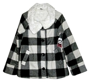 Roxy Faux Fur Faux Fur Lining Fall Casual Comfortable Flannel Pea Coat