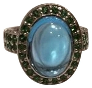 18KT White Gold Blue Topaz and Tsavorite Ring