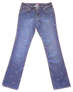 Lilly Pulitzer Main Line Fit Embroidered Dragonfly Designer Straight Leg Jeans-Medium Wash