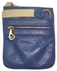 Michael Kors Mk Blue Mk Leather Cross Body Bag