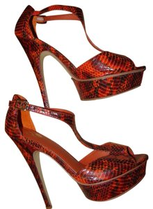 Colin Stuart Snakeskin Vegan Orange Platforms