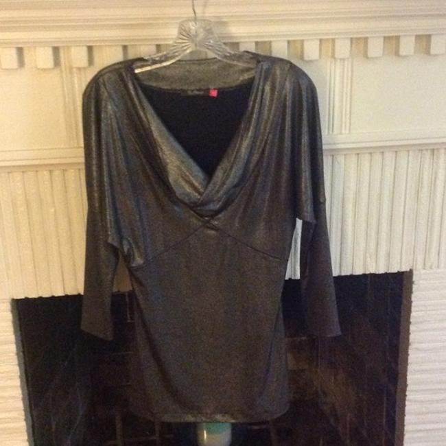 Kira Plastinina Metallic Neck Long Sleeve Top Silver