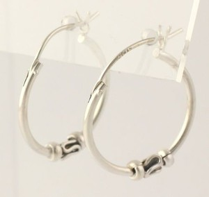 Hoop Earrings - Sterling Silver 925 Womens 19.9mm Polished Pierced Beads