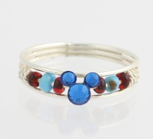 Disney Girl Ring - 925 Sterling Silver Blue Red Beads Mickey Mouse Childs