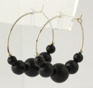 Beaded Hoop Earrings - Black Beads Womens Fashion Pierced 24.1mm