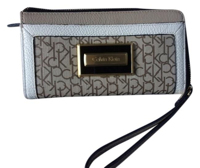Item - Taupe and Cream Black Trim Gold Detail Zipper with Wrist Strap Wallet