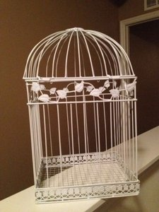White Birdcage Card Holder Other