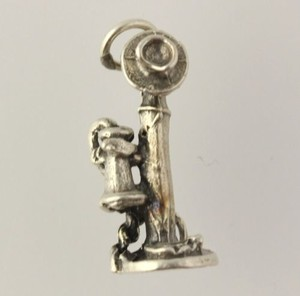 Candlestick Phone Charm - 925 Sterling Silver Womens Fine Estate Pendant Old