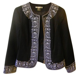 Peter Nygard Embroidered Jacket Zip Jacket Structured Classic Black Blazer