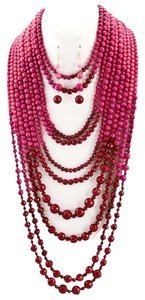 Unknown Long Multi Strand Fuchsia Ombre Bead Necklace Set