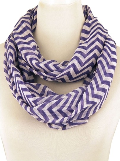 Unknown Chevron Lightweight Blue and White Infinity Scarf