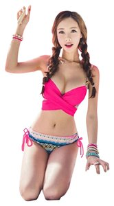 Other Pink Cross Crop Top Wrap Tie Bikini Set
