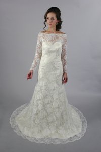 Handmade Long Sleeves A Line Lace Wedding Dress Royal/classic Style Long Sleeves Bridal Gown See Through Lace Appliques Wedding Dress