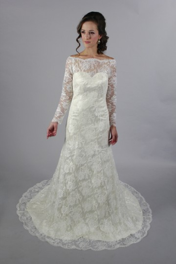 White Lace Satin Handmade Long Sleeves A Royal/Classic Style Long Sleeves Bridal Gown See Through Appliques Back Modern Wedding Dress Size 4 (S)