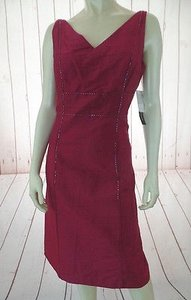 Donna Morgan Slub Silk Beaded Sheath Lined Chic Dress