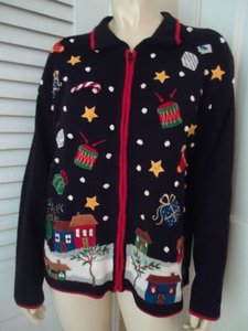 Tiara International Ugly Christmas Holiday Embroidery Zip Front Sweater