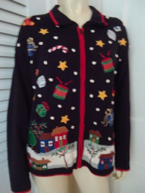 Tiara International Ugly Christmas Holiday Embroidery Zip Front Sweater Image 1