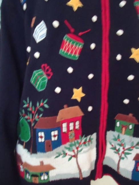 Tiara International Ugly Christmas Holiday Embroidery Zip Front Sweater Image 2