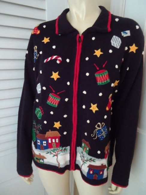 Tiara International Ugly Christmas Holiday Embroidery Zip Front Sweater Image 3