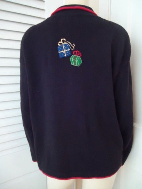 Tiara International Ugly Christmas Holiday Embroidery Zip Front Sweater Image 4