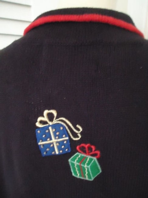 Tiara International Ugly Christmas Holiday Embroidery Zip Front Sweater Image 5
