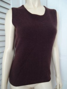 Karen Kane Vest Brown Sleeveless Crew Fuzzy Angora Lambswool Sweater
