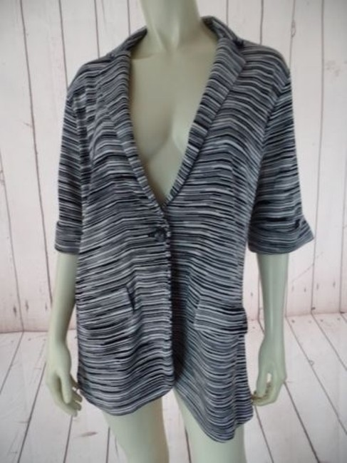 Chico's Chicos Sweater Knit Blazer Black White Rayon Cotton Stretch Blend Pockets Chic Image 4