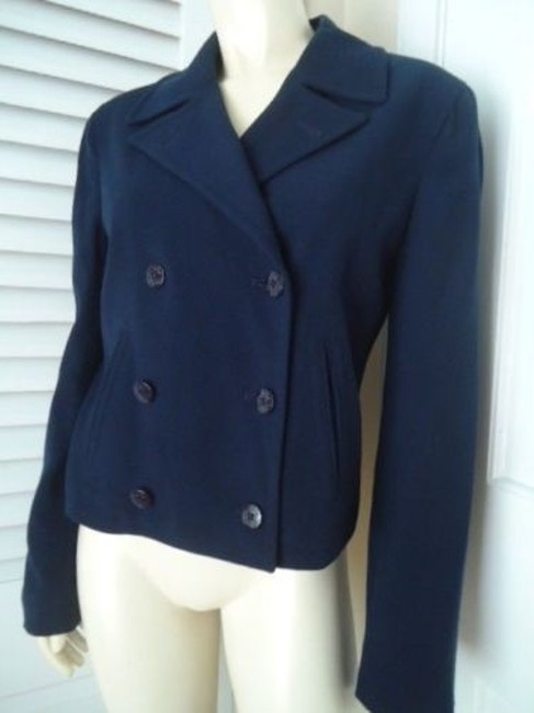 Ralph Lauren Ralph Lauren Blazer Navy Stretch Worsted Wool Double Breasted Lined Chic Image 1