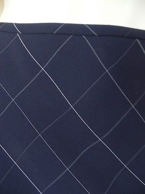 Anne Klein Checked Poly Rayon Blend Straight Lined Side Zip Chic Skirt Navy Blue Image 1