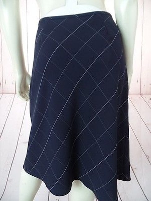 Anne Klein Checked Poly Rayon Blend Straight Lined Side Zip Chic Skirt Navy Blue Image 10