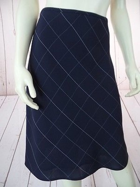 Anne Klein Checked Poly Rayon Blend Straight Lined Side Zip Chic Skirt Navy Blue Image 2