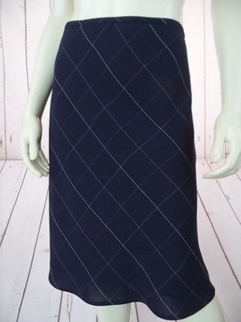 Anne Klein Checked Poly Rayon Blend Straight Lined Side Zip Chic Skirt Navy Blue Image 3