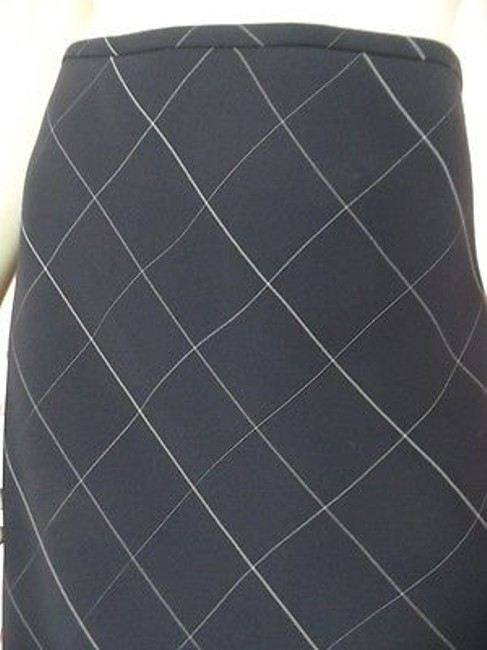 Anne Klein Checked Poly Rayon Blend Straight Lined Side Zip Chic Skirt Navy Blue Image 4