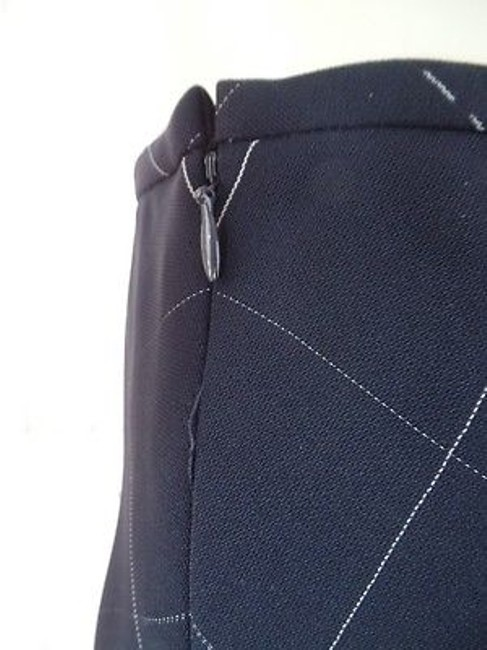 Anne Klein Checked Poly Rayon Blend Straight Lined Side Zip Chic Skirt Navy Blue Image 5