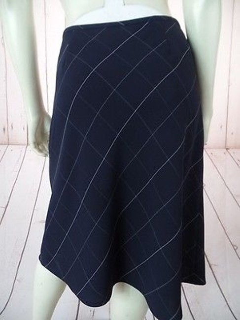 Anne Klein Checked Poly Rayon Blend Straight Lined Side Zip Chic Skirt Navy Blue Image 6