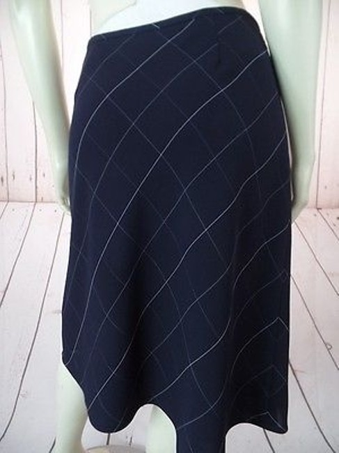 Anne Klein Checked Poly Rayon Blend Straight Lined Side Zip Chic Skirt Navy Blue Image 7