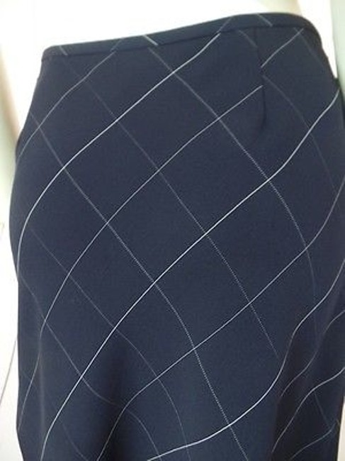 Anne Klein Checked Poly Rayon Blend Straight Lined Side Zip Chic Skirt Navy Blue Image 8