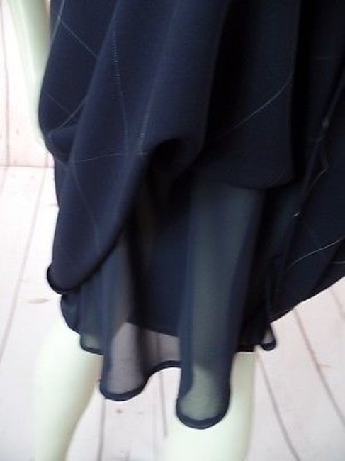 Anne Klein Checked Poly Rayon Blend Straight Lined Side Zip Chic Skirt Navy Blue Image 9