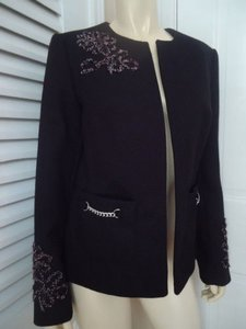 Peck & Peck Peck Peck Collection Blazer Black Poly Floral Embroidery Chain Hdwe Chic