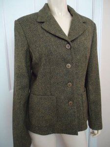Laura Ashley Laura Ashley Blazer Us Wool Herringbone Lined Button Front Chic