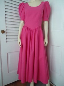 Hot Pink Maxi Dress by Laura Ashley Cotton Drop Waist Long Prairie Victorian Bow Back