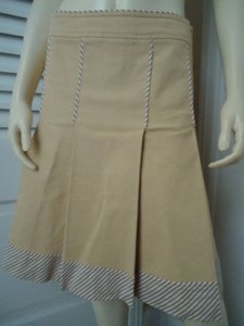 Other Sitwell Anthropologie Cotton Stretch Stripes Schoolgirl Skirt Pale yellow with stirped contrast hem