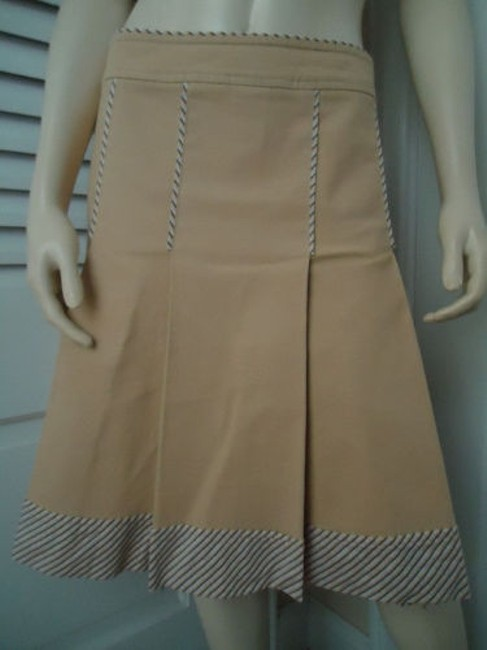 Other Sitwell Anthropologie Cotton Stretch Stripes Schoolgirl Skirt Pale yellow with stirped contrast hem Image 1