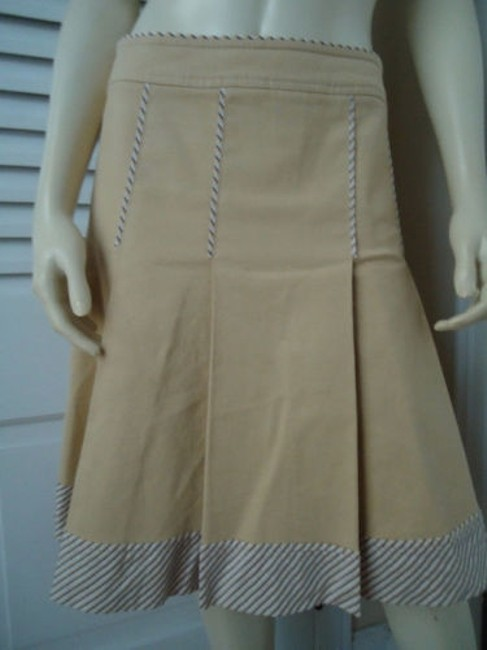 Other Sitwell Anthropologie Cotton Stretch Stripes Schoolgirl Skirt Pale yellow with stirped contrast hem Image 2