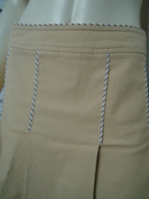 Other Sitwell Anthropologie Cotton Stretch Stripes Schoolgirl Skirt Pale yellow with stirped contrast hem Image 3
