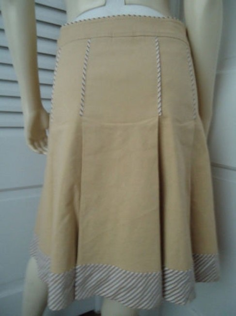 Other Sitwell Anthropologie Cotton Stretch Stripes Schoolgirl Skirt Pale yellow with stirped contrast hem Image 4