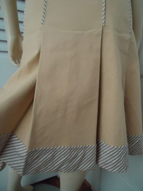 Other Sitwell Anthropologie Cotton Stretch Stripes Schoolgirl Skirt Pale yellow with stirped contrast hem Image 5