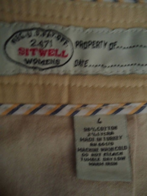 Other Sitwell Anthropologie Cotton Stretch Stripes Schoolgirl Skirt Pale yellow with stirped contrast hem Image 6