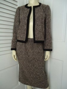 Other Renzo Skirt Siut Gray White Black Wool Tweed Short Open Front Blazer Retro